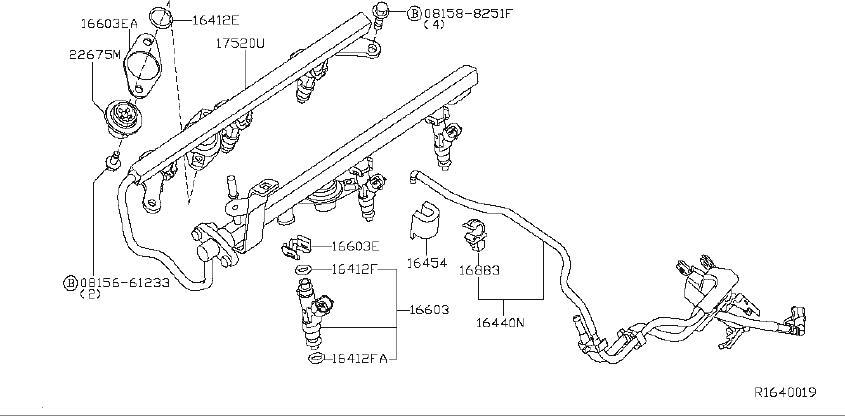 Nissan Xterra Fuel Injector. RAIL, INJECTORS, HOSES