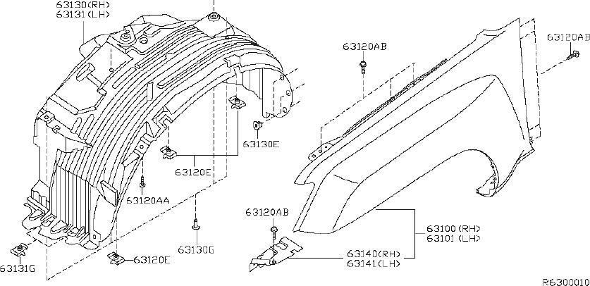 Nissan Xterra Fender Splash Shield (Right, Front). FITTING