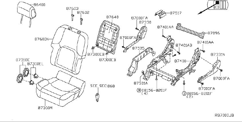 Nissan Xterra Srs product back seat. (front). Manual, fold