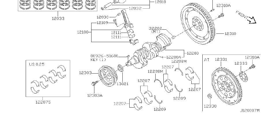 Nissan Pathfinder Engine Piston. ILLUSTRATION, GRADE