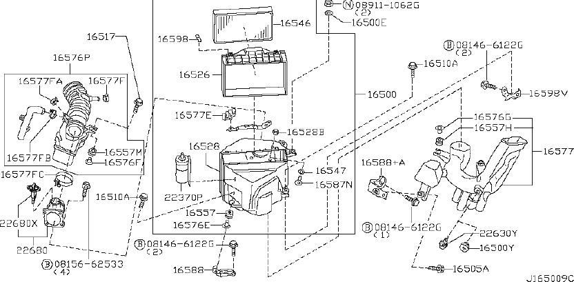 Nissan Pathfinder Engine Air Intake Resonator Bracket