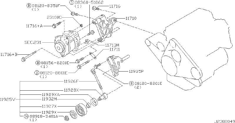 Nissan Pathfinder A/c drive belt idler pulley bracket