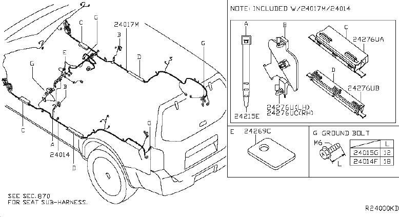 Nissan Pathfinder Harness Back Door. FITTING, ENGINE, ROOM