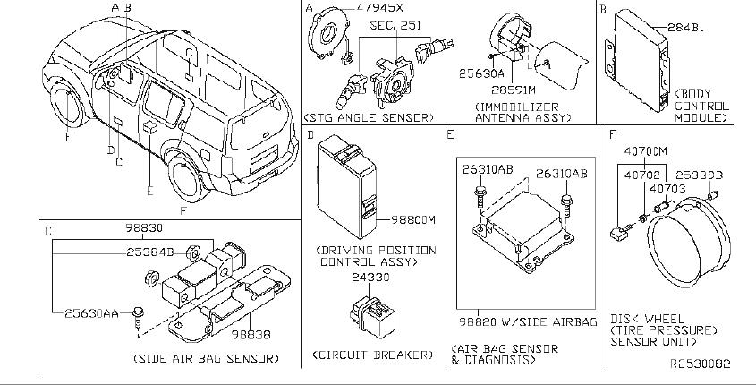 Nissan Pathfinder Air Bag Impact Sensor (Front). INST