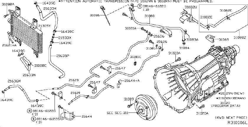 Nissan Pathfinder Service File Tube Oil Cooler. FITTING