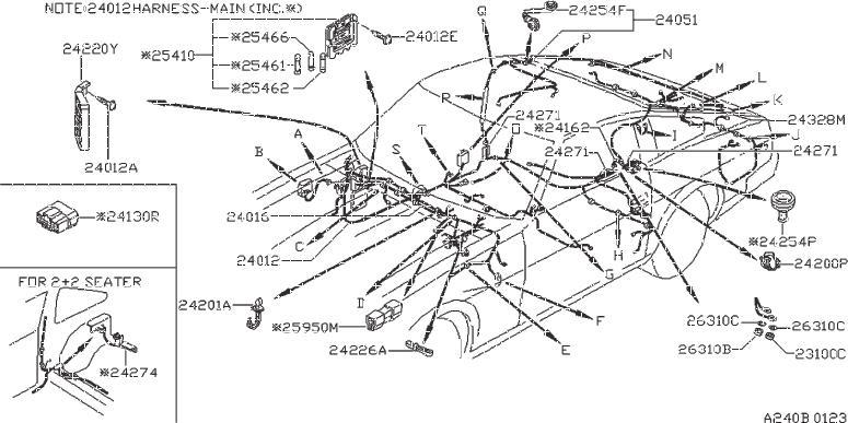 Datsun 280Z Grommet. Harness Dash. Harness Sub, Fuel Pum