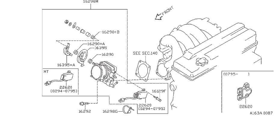 Nissan 240SX Spring Throttle Return. Engine, CHAMBER