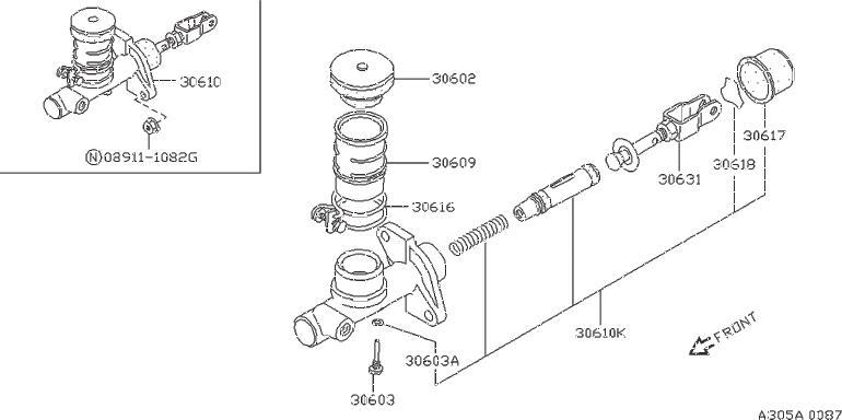 Nissan 240SX Boot Rubber, Master Cylinder. CIRCLIP (NABCO