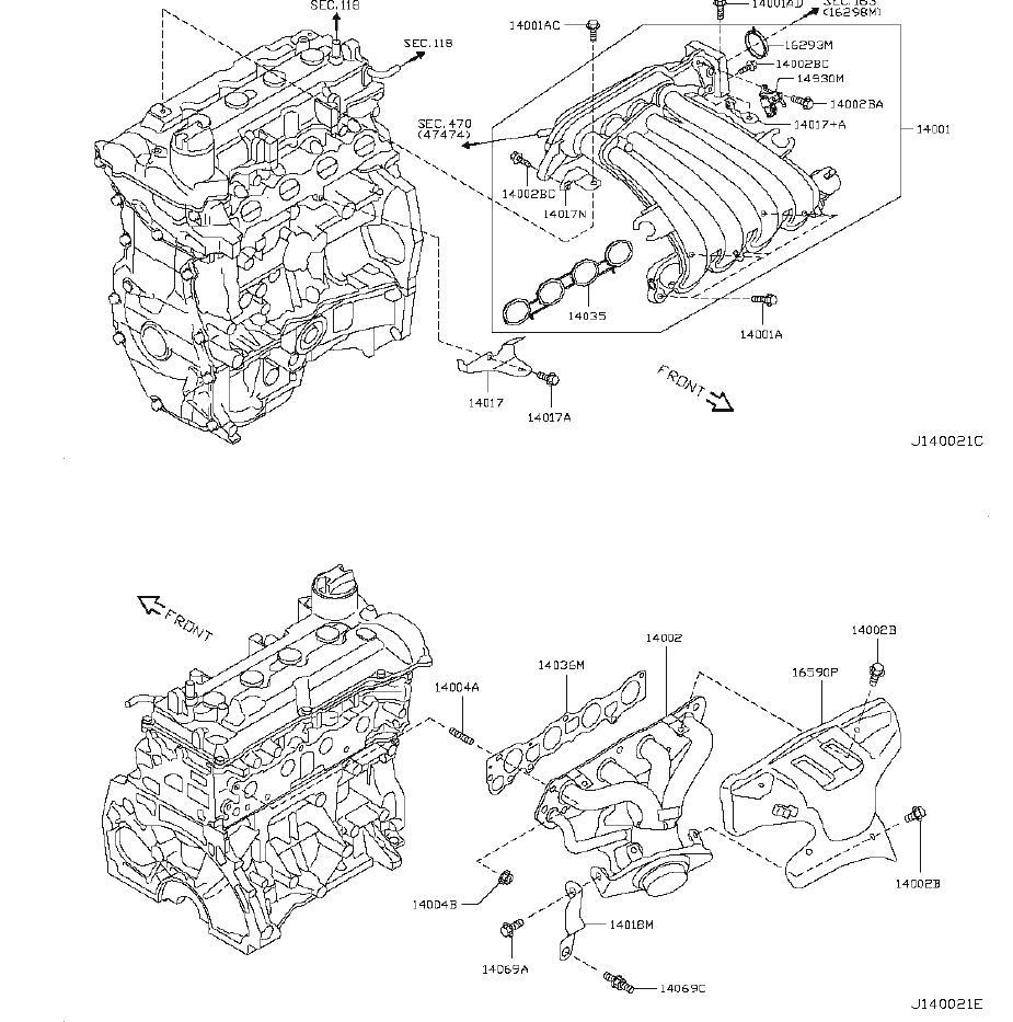 Nissan Versa Engine Intake Manifold Gasket. EXHAUST
