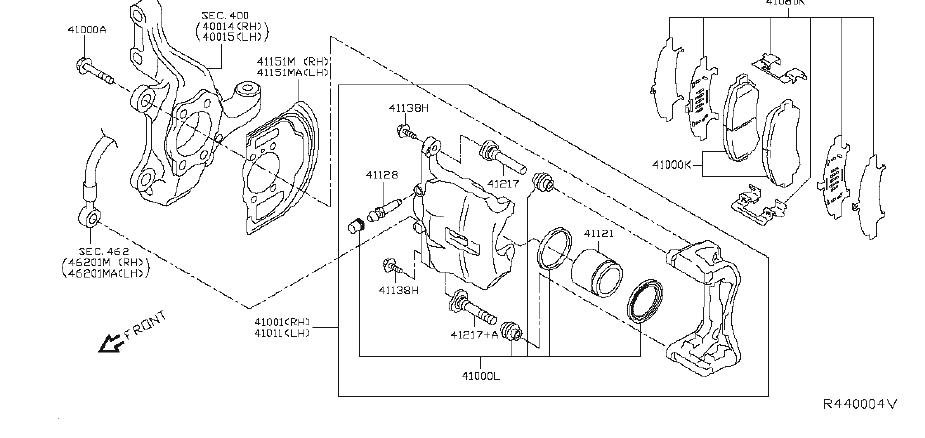 Nissan Rogue Disc Brake Anti-Rattle Clip Set (Front