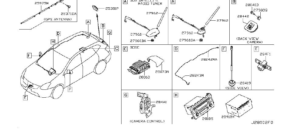 Nissan Rogue Lane Departure System Camera. ANTENNA, AUDIO