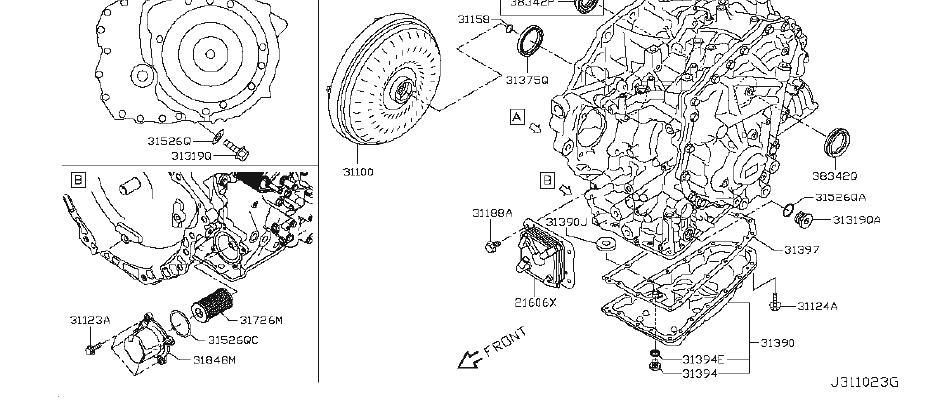 Nissan Rogue Transmission Filter Housing. CVT, CONVERTER