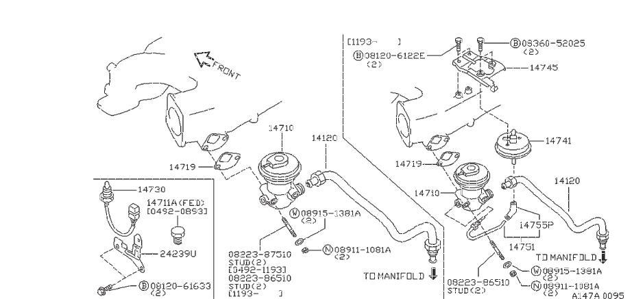 Nissan 300ZX Egr Valve Temperature Sensor. SELECT, JECS