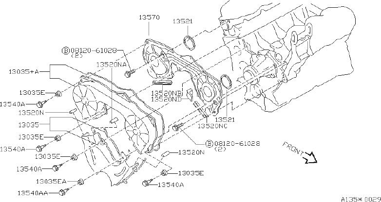 Nissan 300ZX Engine Timing Cover Gasket (Left, Front