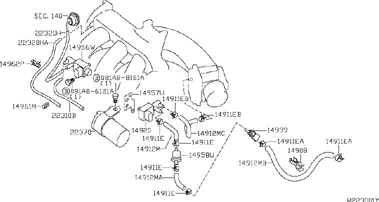 Nissan Quest Hose Evaporator Contour. Hose Fuel