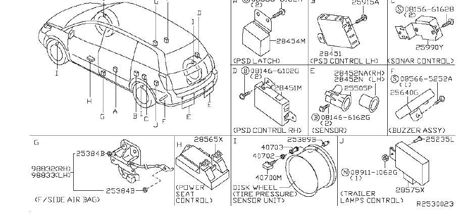 Nissan Quest Parking Aid Sensor Bracket. BODY, DASH, INST