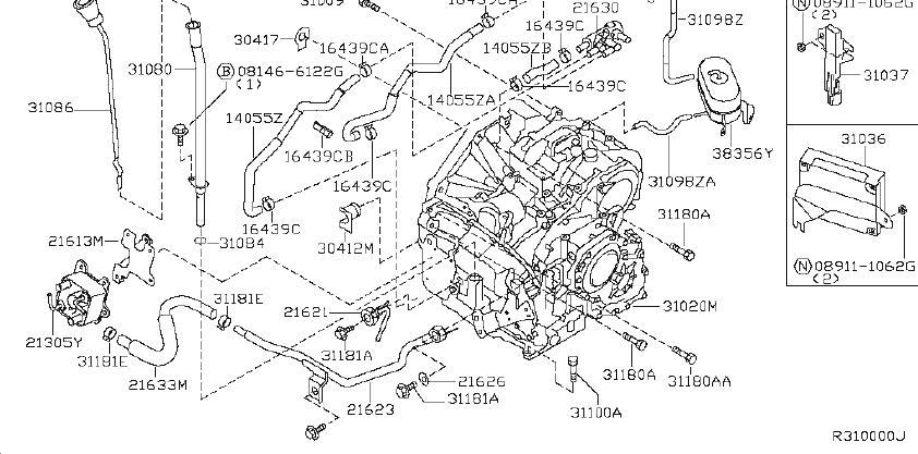 Nissan Maxima Automatic Transmission Oil Cooler Hose