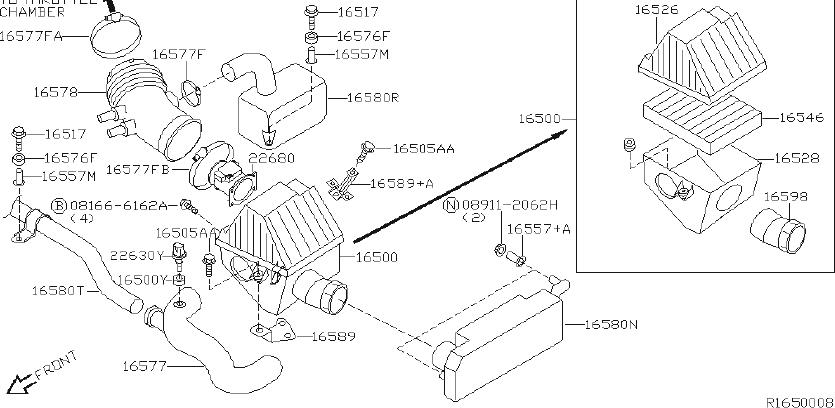 Nissan Xterra Engine Air Intake Resonator. COMPONENT