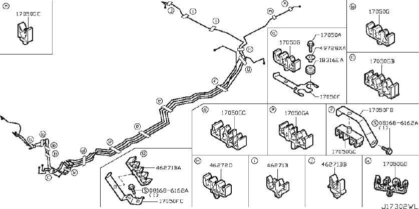 Nissan Armada Bracket Fuel Tube. PIPING, BRAKE, INSULATOR