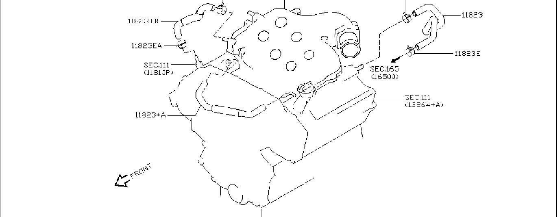Nissan 350Z Hose BLOWBY Gas. CRANKCASE, VENTILATION