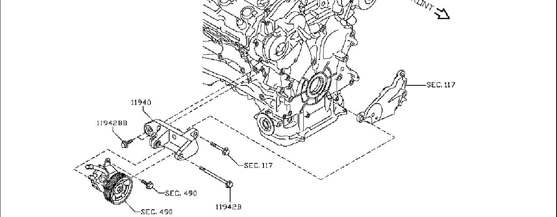 Nissan Frontier Power Steering Pump Bracket. JOURNEY, AWD