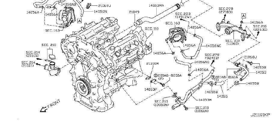 Nissan 370Z Engine Coolant Hose. COOLER, OIL, WITHOUT