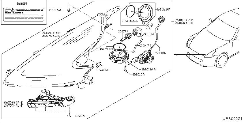 Nissan 370Z Headlight Wiring Harness. System, HEADLAMP