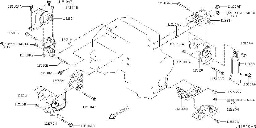 Nissan Murano Engine Mount Washer. TRANSMISSION, MOUNTING