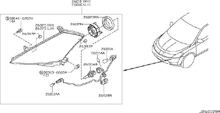 Nissan Murano Headlight. Lamp Head. (Left). System