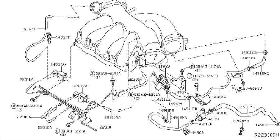 Nissan Murano Evaporative Emissions System Lines. PIPING