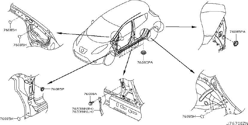 Nissan Leaf Srs product. Insulator pillar. (rear). Fitting