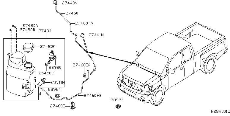 Nissan Titan Washer Fluid Reservoir. WINDSHIELD, System