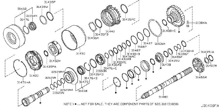 2004 Nissan Titan Bearing Needle, Thrust. TRANSMISSOIN