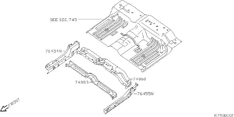 Nissan Titan Floor Pan Crossmember (Rear). Trim, Interior