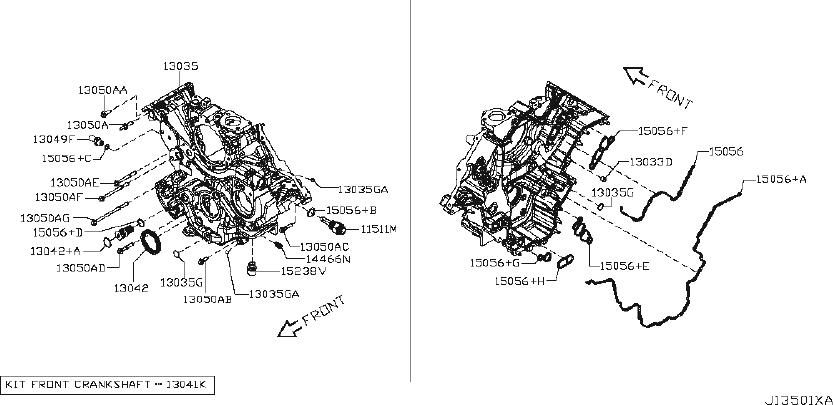 Nissan Titan Engine Timing Cover Gasket. FRONT, BLOCK