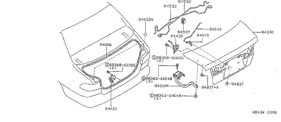 Nissan Sentra Striker Trunk Lid Lock. FUEL, OPENER, FILLER