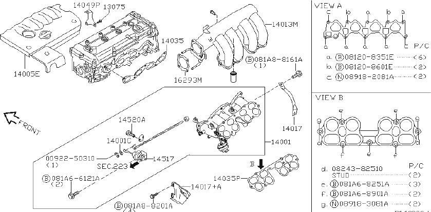 Nissan Sentra Actuator Power Valve. INTAKE, EXHAUST