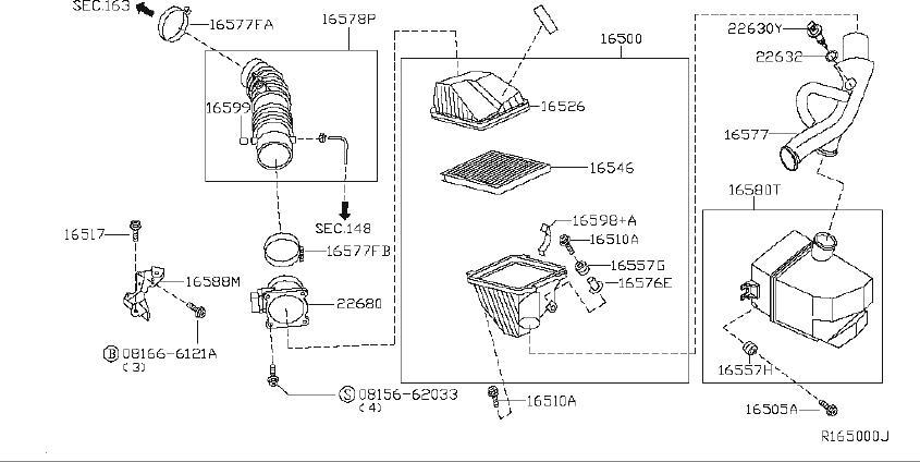 Nissan Altima Mass Air Flow Sensor. CLEANER, Engine