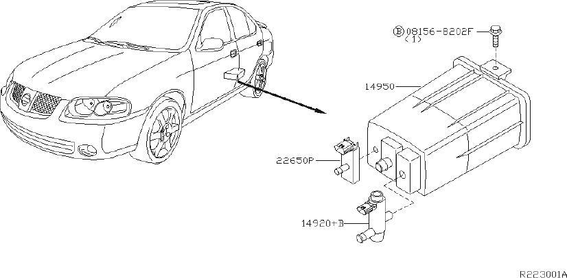 2013 Nissan Sentra Bracket Vacuum Tank. ENGINE, FED, REAR