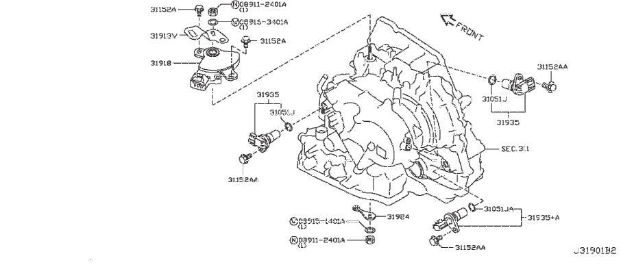 Nissan Sentra Vehicle Speed Sensor. REVOLUTION, SECOUNDARY