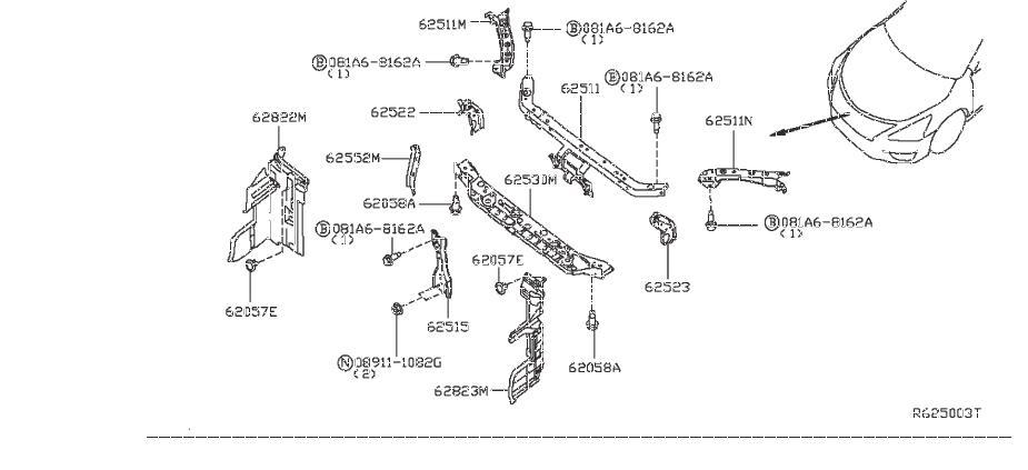 Nissan Sentra Radiator Support Tie Bar (Lower). APRON