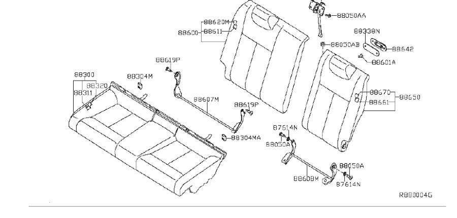 Nissan Altima Seat Back Cover (Rear). Trim, Interior, Body