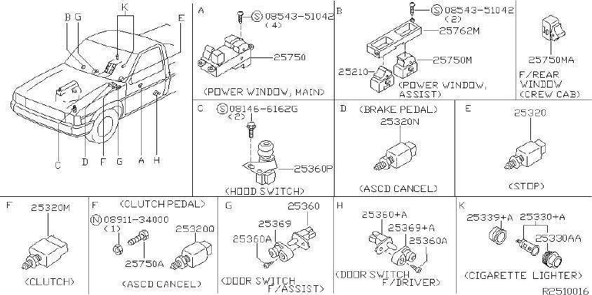2003 Nissan Frontier XE 3.3L V6 MT 2WD Steering Column