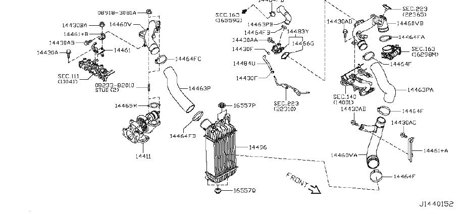 Nissan Juke Tube Turbocharger Oil Feed. INTERCOOLER