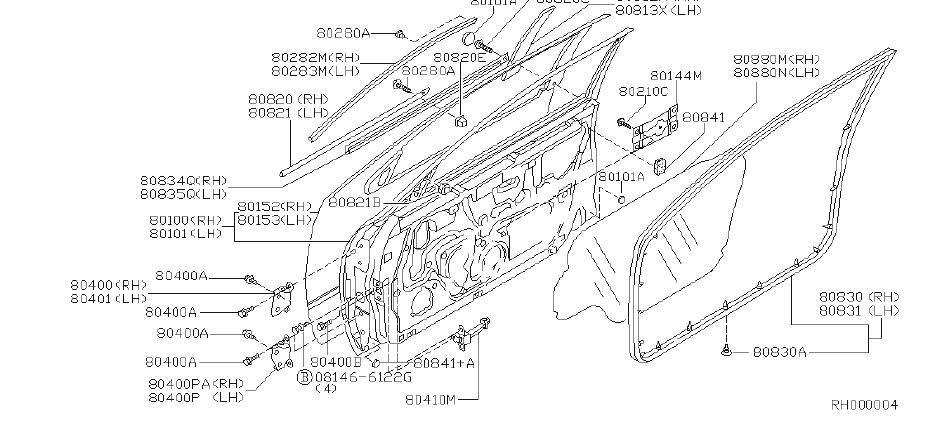 Nissan Altima Door Window Belt Weatherstrip (Right, Front