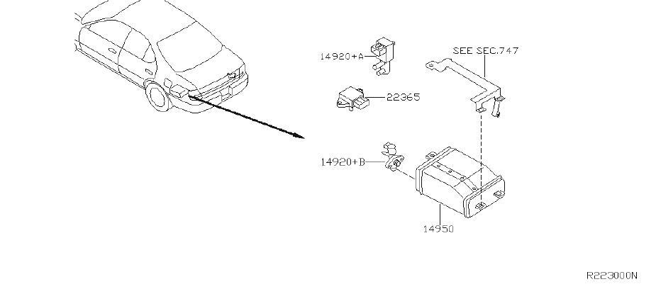 Nissan Altima Hose Fuel Evaporation Control. REAR, FRONT