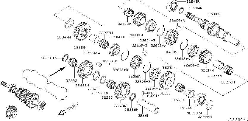 Nissan Altima Gear 2ND, Main Shaft. INPUT, TRANSMISSION