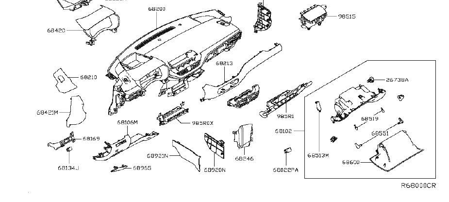 Nissan Altima Kit Service Knee Airbag, Driver. Module Knee