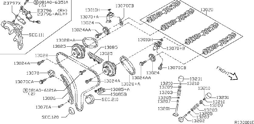 Nissan Xterra Engine Timing Chain. MECHANISM, CAMSHAFT
