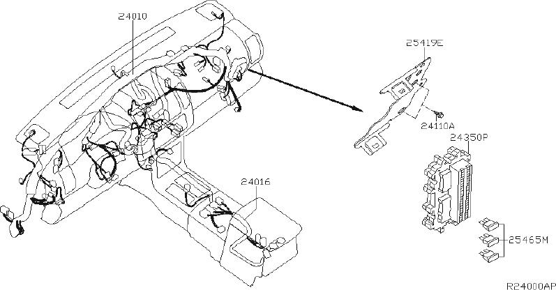 Nissan Xterra Srs product. Harness main. System, stock
